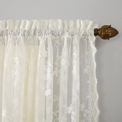 Alison Ruffled Floral Lace Priscilla Sheer Curtain Ivory With Regard To Elegant White Priscilla Lace Kitchen Curtain Pieces (View 2 of 30)