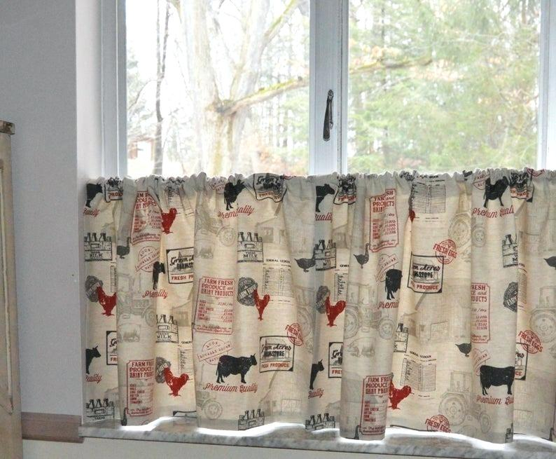 Alluring Curtains For Kitchen French Doors Country Amazon For Barnyard Window Curtain Tier Pair And Valance Sets (View 11 of 50)