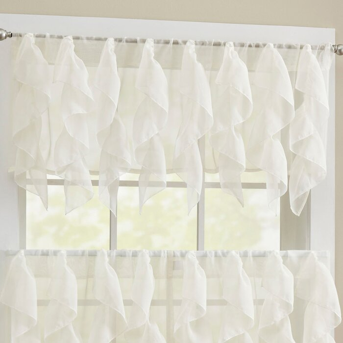 Alonza Window Valance With Regard To Navy Vertical Ruffled Waterfall Valance And Curtain Tiers (View 16 of 30)