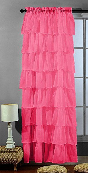Amazon: 2 Piece Set  Solid Hot Pink (Fuchsia) Gypsy Throughout Elegant Crushed Voile Ruffle Window Curtain Pieces (View 7 of 45)