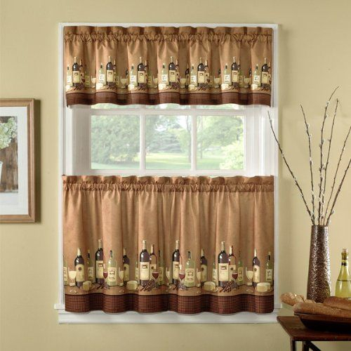 Amazon: 36 Inch Length Wines Tailored Tier Curtain And With Tailored Valance And Tier Curtains (#2 of 50)
