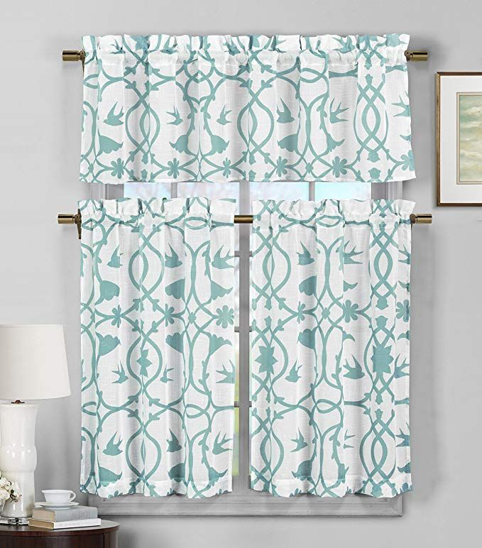 Amazon: Duck 3 Piece Semi Sheer Window Curtain Set Pertaining To Geometric Print Microfiber 3 Piece Kitchen Curtain Valance And Tiers Sets (View 1 of 30)