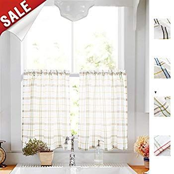 Amazon: White Tier Curtains Kitchen, Red Taupe Check On In Sheer Lace Elongated Kitchen Curtain Tier Pairs (#8 of 30)