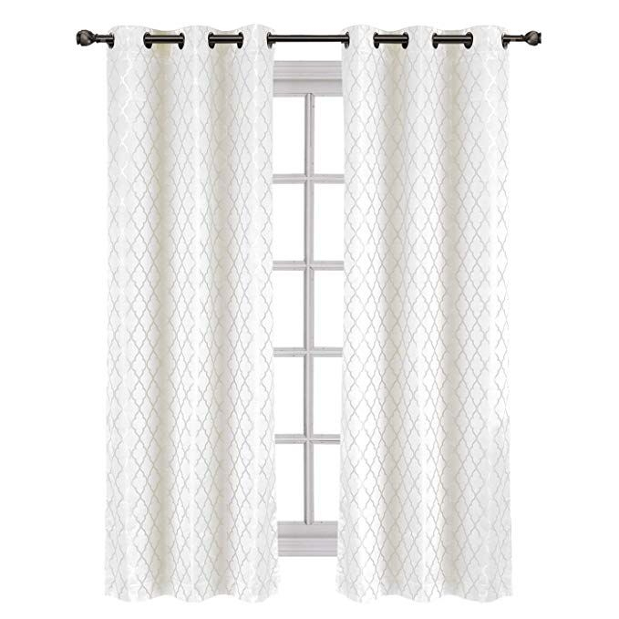 Amazon: Willow Jacquard White Grommet Blackout Window Pertaining To Dove Gray Curtain Tier Pairs (View 4 of 30)