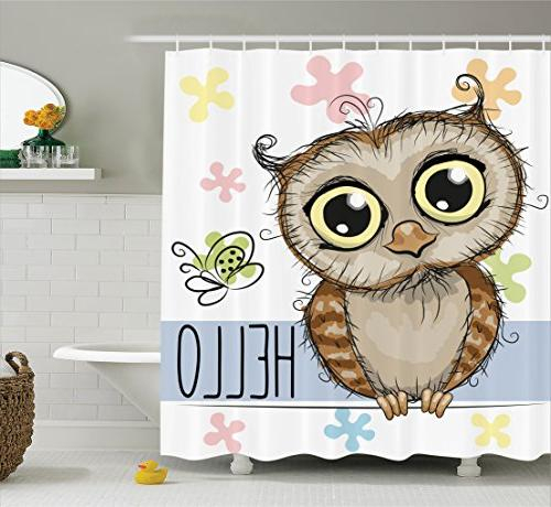 Ambesonne Funny Shower Curtain Owl Decor, Cartoon Owl Inside 5 Piece Burgundy Embroidered Cabernet Kitchen Curtain Sets (#10 of 50)