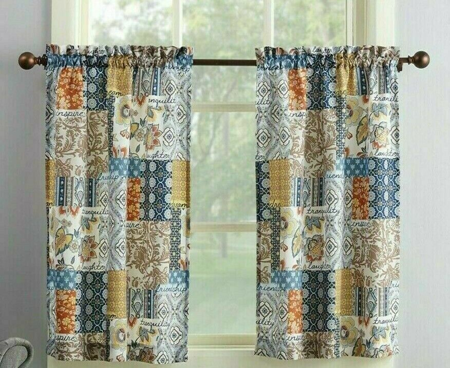 Amelia Patchwork Curtain Valance Set 3Pc Navy Blue Tan Spice Microfiber Kitchen With Microfiber 3 Piece Kitchen Curtain Valance And Tiers Sets (View 3 of 30)