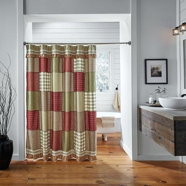 Americana Shower Curtains Primitive Red Farmhouse Bath With Regard To Rod Pocket Cotton Striped Lace Cotton Burlap Kitchen Curtains (View 5 of 30)