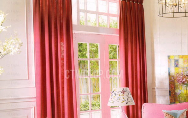 Amusing Red Modern Pattern Curtains Interiors Beautiful For Modern Subtle Texture Solid Red Kitchen Curtains (#1 of 50)