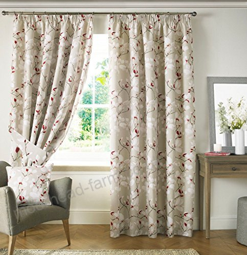"""Anita Poppy Red Fully Lined Pencil Pleat Curtains 46"""" Wide X Throughout Pleated Curtain Tiers (View 47 of 50)"""