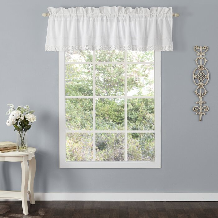 """Annabella 86"""" Window Valance For White Tone On Tone Raised Microcheck Semisheer Window Curtain Pieces (#11 of 46)"""
