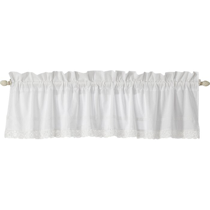 """Annabella 86"""" Window Valance Within White Tone On Tone Raised Microcheck Semisheer Window Curtain Pieces (#12 of 46)"""