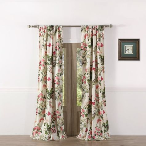 Annaelle Floral/flower Semi Sheer Rod Pocket Curtain Panels Within Floral Watercolor Semi Sheer Rod Pocket Kitchen Curtain Valance And Tiers Sets (View 2 of 50)