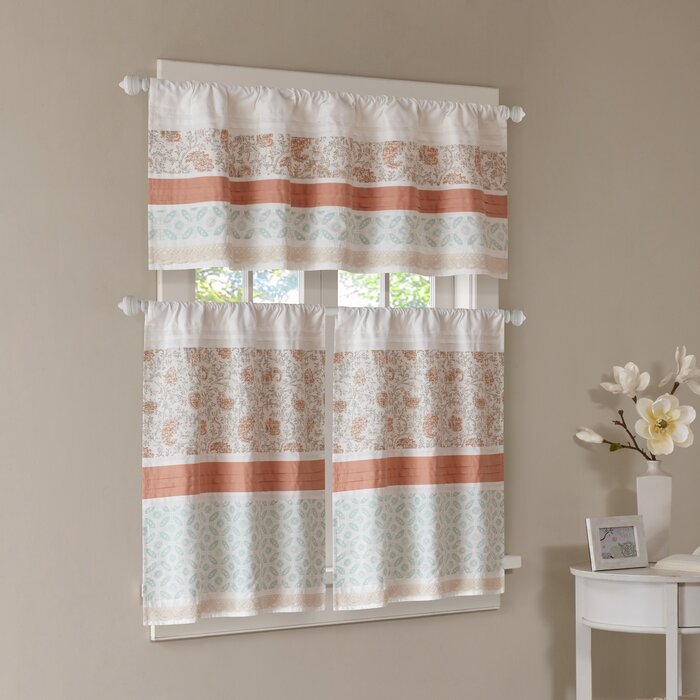 Anni Printed Kitchen Curtain For Serene Rod Pocket Kitchen Tier Sets (#1 of 30)