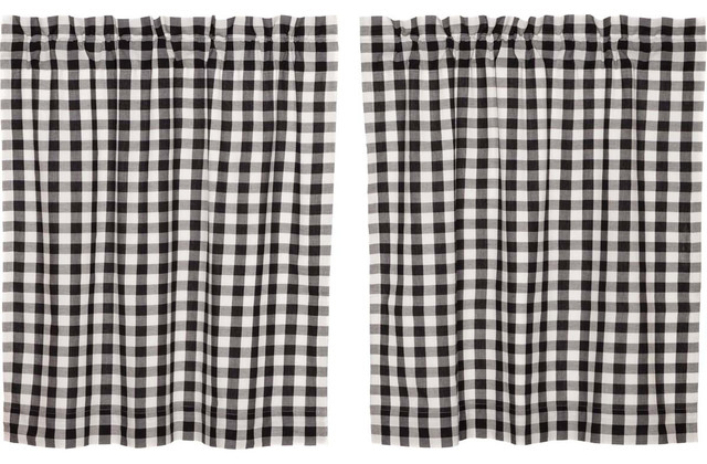 "Annie Black Buffalo Check Tier Curtains 36"" In Cumberland Tier Pair Rod Pocket Cotton Buffalo Check Kitchen Curtains (View 5 of 30)"