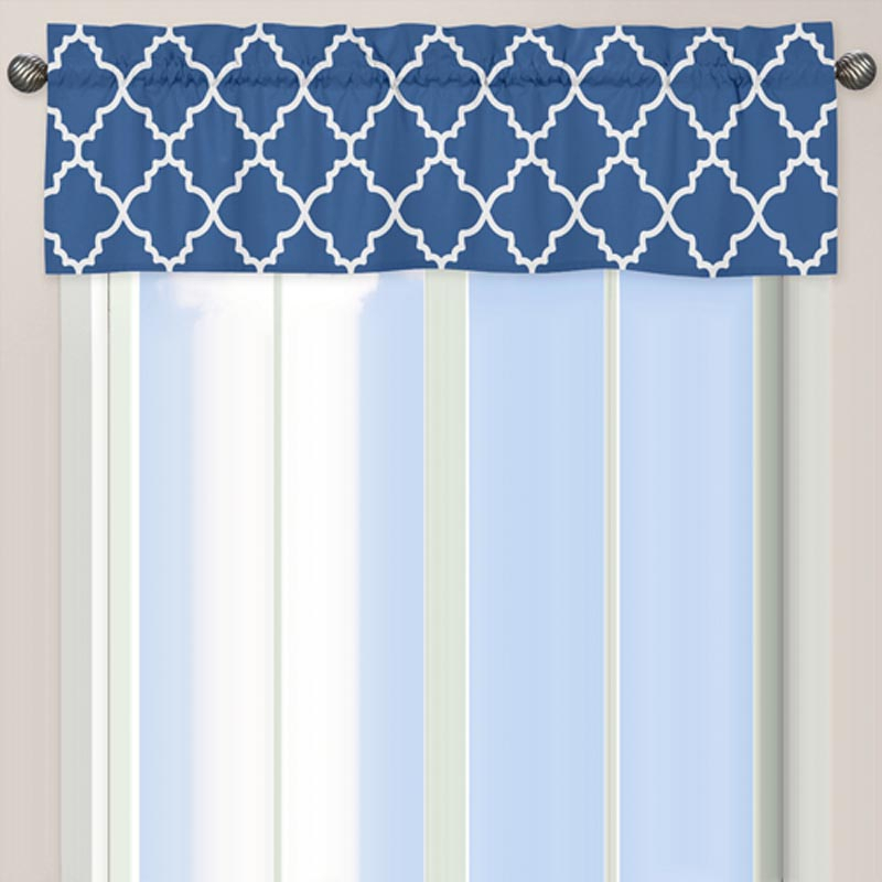 Antique Blue Windows: Jojo Designs Trellis Blue And White Intended For Trellis Pattern Window Valances (#2 of 30)