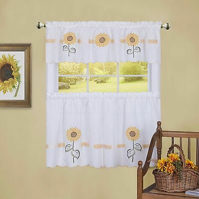 Apple Blossom 24L Tier And Swag Valance Set Kitchen Curtains With Cotton Blend Ivy Floral Tier Curtain And Swag Sets (View 8 of 30)