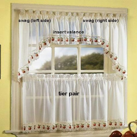 Apple Orchard Kitchen Curtain – Insert Valancechf Intended For Sheer Lace Elongated Kitchen Curtain Tier Pairs (#9 of 30)