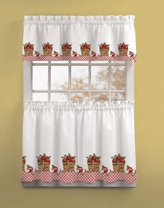 Apple Picking 3 Piece Kitchen Curtain Tier Set In 2019 Inside Coffee Embroidered Kitchen Curtain Tier Sets (View 5 of 30)