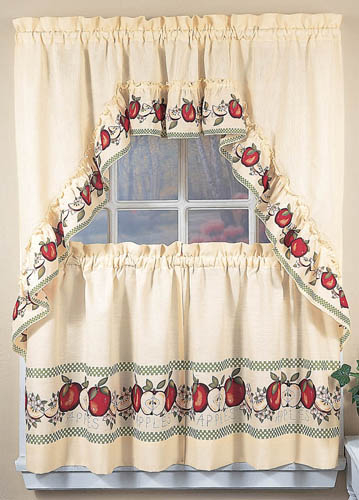 Apple Window Curtains, Country Kitchen Decor Swag Tiers Regarding Red Delicious Apple 3 Piece Curtain Tiers (View 11 of 50)
