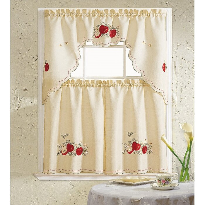 Apples 3 Piece Kitchen Curtain Set Within Delicious Apples Kitchen Curtain Tier And Valance Sets (View 17 of 30)