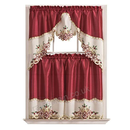 Arch Floral Kitchen Curtain Set/ Swag Valance & Tier Set Regarding Floral Embroidered Sheer Kitchen Curtain Tiers, Swags And Valances (View 4 of 50)