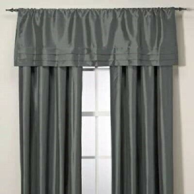 "Argentina Tailored Window Curtain Valance In Peacock 54"" X 18"" Silver Grey  Tier 76389009071 