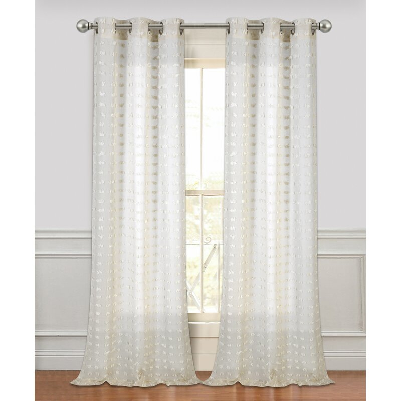 Arielle Solid Semi Sheer Grommet Curtain Panels Pertaining To Micro Striped Semi Sheer Window Curtain Pieces (#2 of 30)