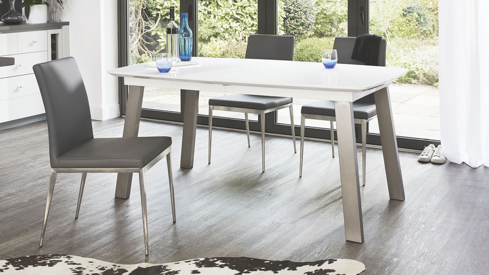 Assi White And Grey Gloss Extending Dining Table With Regard To Most Popular Faye Extending Dining Tables (#1 of 20)