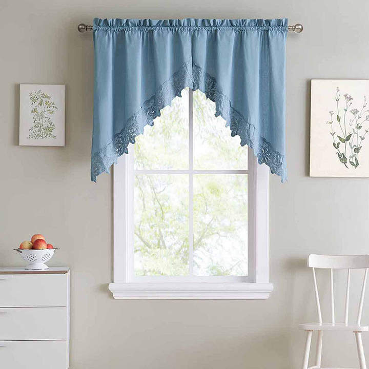 Asstd National Brand Hanna Rod Pocket Swag Valance Pair Throughout Floral Lace Rod Pocket Kitchen Curtain Valance And Tiers Sets (View 2 of 50)
