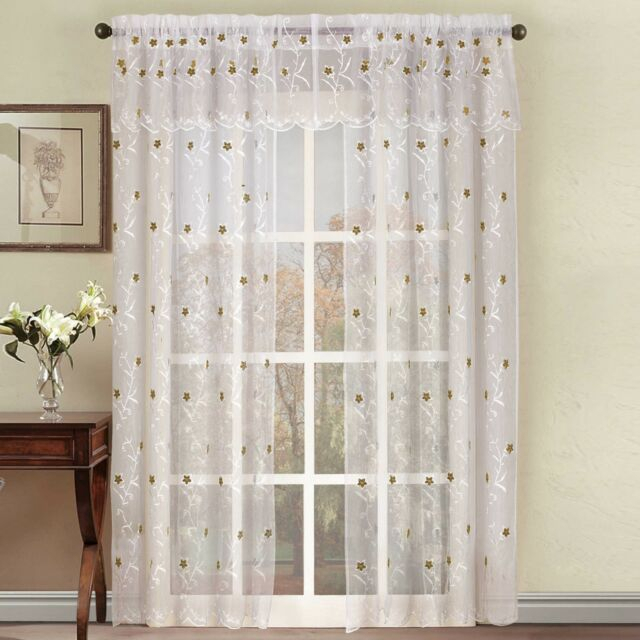 Astor Sheer Embroidered Rod Pocket Window Curtain Panel In Within Embroidered Rod Pocket Kitchen Tiers (View 4 of 49)