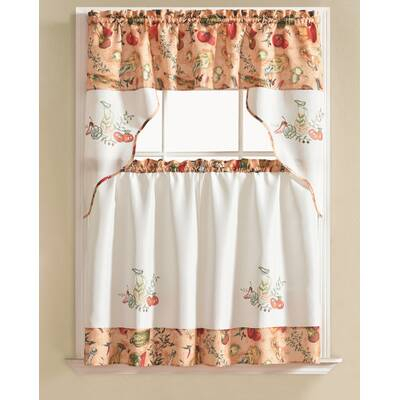 August Grove Gironde Pear 3 Piece Kitchen Curtain Set For Bermuda Ruffle Kitchen Curtain Tier Sets (View 5 of 50)