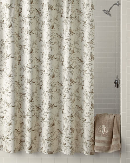 Aviary Toile Shower Curtain Intended For Aviary Window Curtains (View 11 of 30)