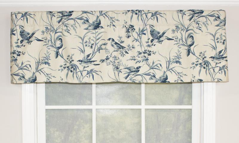 Aviary Toile Straight Valance, Blue – Outlet | Rlf Home For Aviary Window Curtains (View 12 of 30)