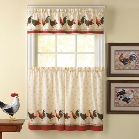 Awesome Kitchen Curtains Sets #1 Country Rooster Kitchen With Sunflower Cottage Kitchen Curtain Tier And Valance Sets (#9 of 50)