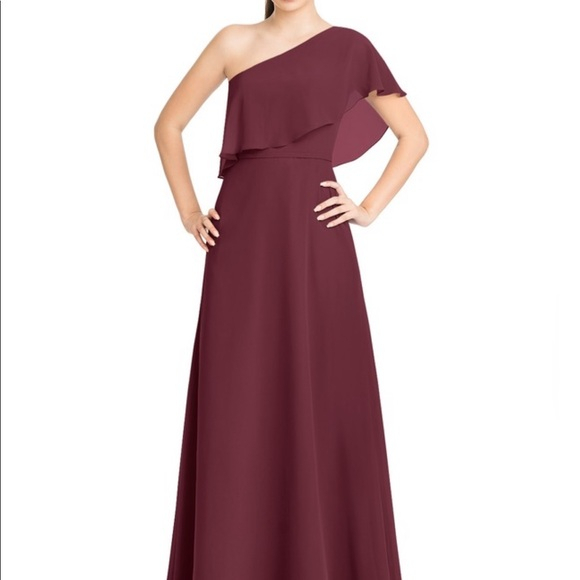 Azazie One Shoulder Lizzy Dress! Maroon Cabernet Pertaining To 5 Piece Burgundy Embroidered Cabernet Kitchen Curtain Sets (#11 of 50)