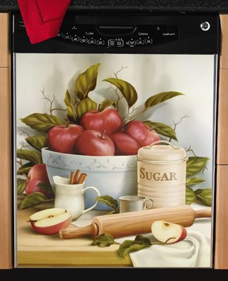 "Baking With Apples"" Decorative Kitchen Dishwasher Cover Pertaining To Apple Orchard Printed Kitchen Tier Sets (View 13 of 50)"
