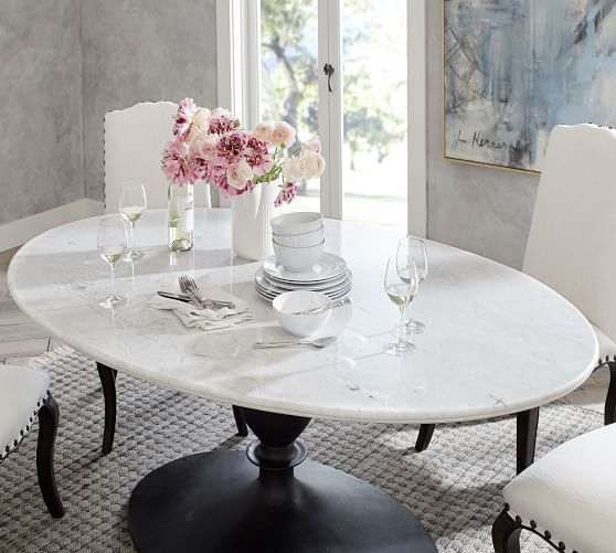 Popular Photo of Chapman Marble Oval Dining Tables