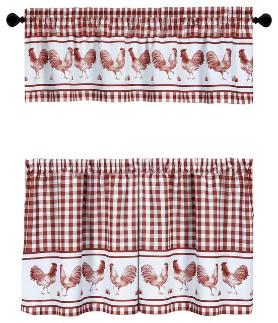 "Barnyard Window Curtain Tier Pair And Valance Set, 58""x24"", Burgundy Pertaining To Sunflower Cottage Kitchen Curtain Tier And Valance Sets (#10 of 50)"