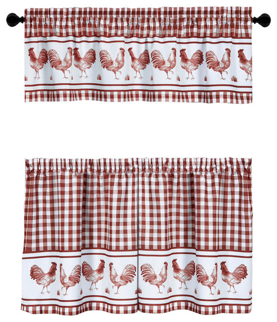 Barnyard Window Curtain Tier Pair And Valance Set With Barnyard Buffalo Check Rooster Window Valances (View 2 of 30)