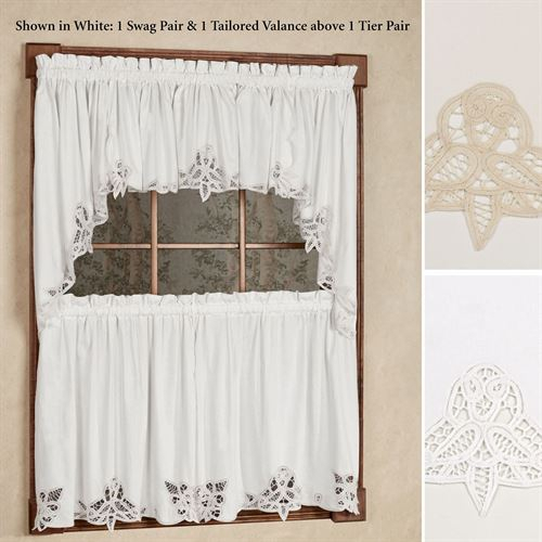 Battenburg Lace Edge Tier Window Treatment Inside Floral Lace Rod Pocket Kitchen Curtain Valance And Tiers Sets (View 4 of 50)