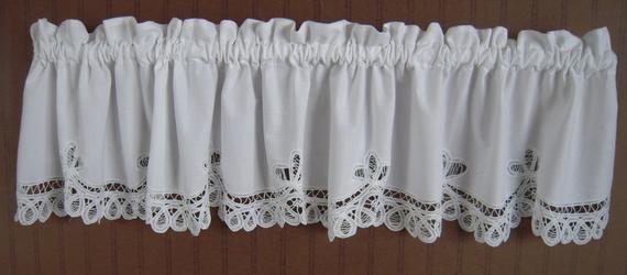 Battenburg Lace Valance Handmadevalancesdiana Regarding Class Blue Cotton Blend Macrame Trimmed Decorative Window Curtains (View 3 of 30)
