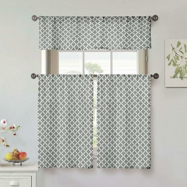 Bay Window Kitchen Curtains   Wayfair Within Embroidered Floral 5 Piece Kitchen Curtain Sets (View 3 of 30)