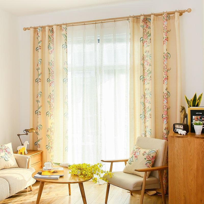 Beige Floral Print Linen/cotton Blend Beautiful Extra Wide Curtains Pertaining To Cotton Blend Classic Checkered Decorative Window Curtains (View 3 of 30)