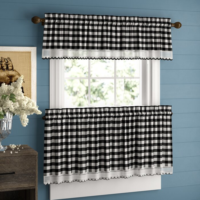 Bellair Country Plaid Complete 3 Piece Tier & Valance Kitchen Curtain Within Kitchen Curtain Tiers (View 18 of 50)