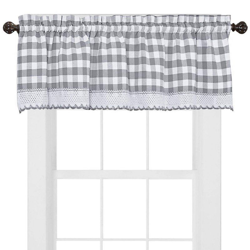 Bellavia Country Plaid With Macrame Border 58'' Window In Cumberland Tier Pair Rod Pocket Cotton Buffalo Check Kitchen Curtains (View 6 of 30)