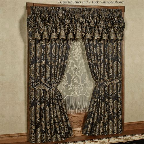 Bellevue Black Medallion Tuck Valance Window Treatment With Medallion Window Curtain Valances (#8 of 48)