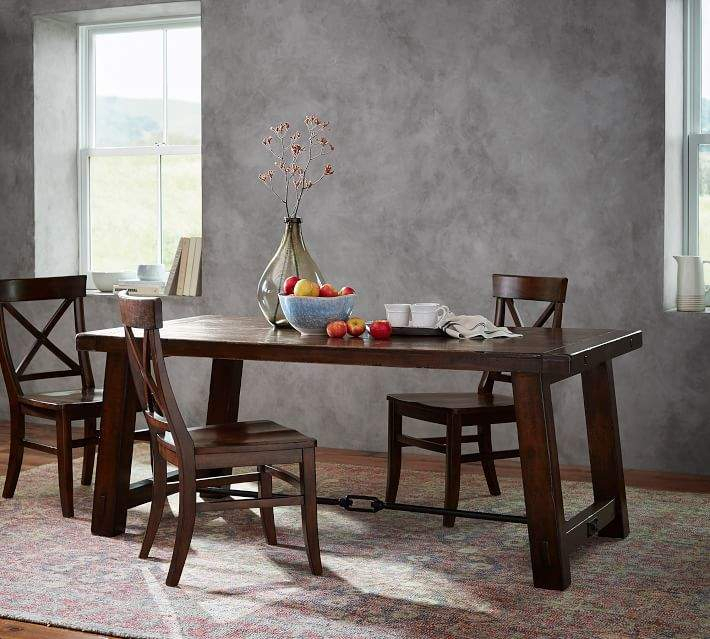 Benchwright Dining Table, Rustic Mahogany For Famous Gray Wash Benchwright Extending Dining Tables (#3 of 20)