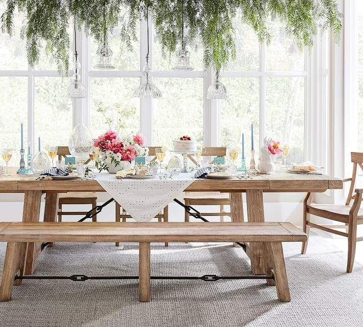 Benchwright Extending Dining Table, Seadrift In 2019 Pertaining To Trendy Gray Wash Benchwright Pedestal Extending Dining Tables (#1 of 30)