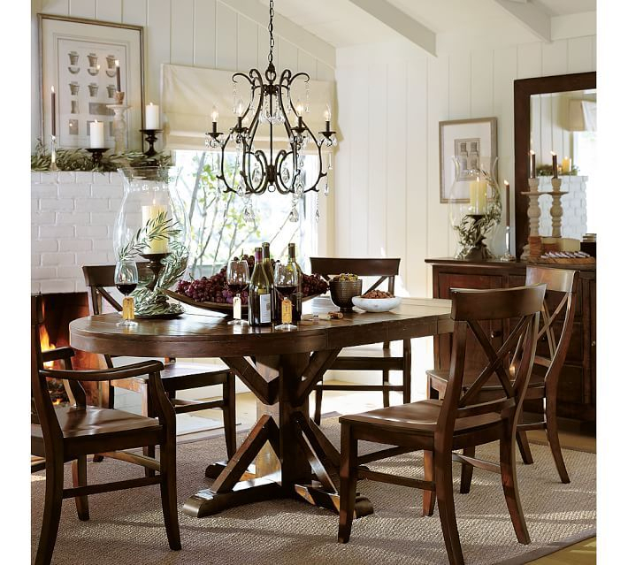 Benchwright Extending Pedestal Dining Table, Alfresco Brown For Well Liked Rustic Mahogany Benchwright Dining Tables (View 8 of 20)