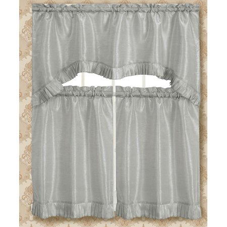 Bermuda Ruffle Kitchen Curtain Tier Set | Products Within Elegant Crushed Voile Ruffle Window Curtain Pieces (View 9 of 45)